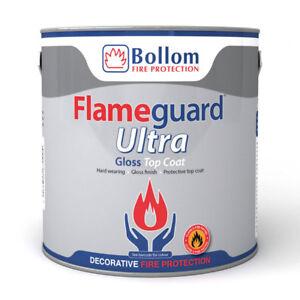Bollom Flameguard Ultra Top Coat Gloss Fire Resistant Paint White 2.5L
