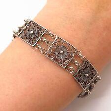 """833 Silver Antique Netherlands Dutch Filigree Link Bracelet 6 3/4"""""""