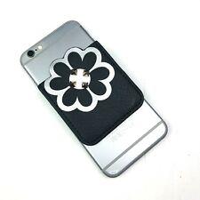 Flower Studded Black White Sticky 3M Cell Phone Pocket Wallet Card Holder ID