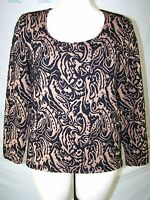 VIP Brown Black Long Sleeve Scoop Neck Textured Top Womens Size Large 12 14