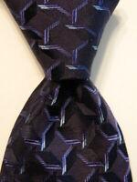 GIORGIO ARMANI Men's 100% Silk Necktie ITALY Luxury Designer Geometric Blue EUC