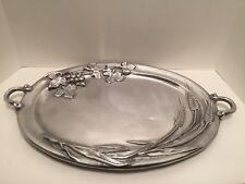 Extra Large Grapes Wheat Aluminum Tray Metal Retro Platter