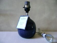 Small Bedside Table Lamp Base Round Ceramic Navy Blue Silver Accent by Threshold