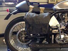 WWII ERA USED BLACK MEDIUM MOTORCYCLE PANNIERS HEAVY DUTY CANVAS WEBBING [72566]