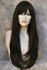 Human Hair Blend Long Straight Dark Brown HEAT SAFE Wig with bangs wil 4