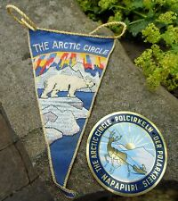 THE ARCTIC CIRCLE vintage Car Badge + Pennant 1950-60s Reindeer Sled Polar Bear