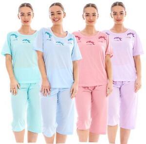 Ladies Capri PJ Set Dolphin Print Cotton Blend Crew Neck Soft Sleepwear Pajama