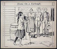 Dessin original illustration de RHODES vers 1917 guerre mondiale WW1 USA