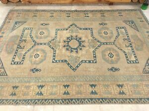5'8''x7'11'' Antique Rug Carpet,Vintage Turkish Large Rug,Distressed Oushak Rug