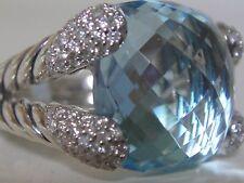 $1750 BRAND NEW DAVID YURMAN BLUE TOPAZ COCKTAIL DIAMOND RING