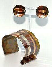 Tiffany& Co Copper Silver Gold Angela Cummings Laser Lines Cuff + Earrings (T96)