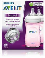 PHILIPS AVENT NATURAL FEEDING BOTTLE 260ML PINK 2 PACK - baby bottles drink