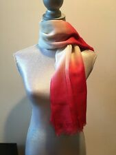 NEW LONGCHAMP WHITE PINK RED FADE GRADIENT WOOL SCARF WRAP