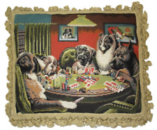 "18"" x 22"" Handmade Wool Needlepoint Kash Coolidge Dogs ""A Bold Bluff"" Pillow"
