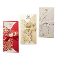 50Pcs Personalized Laser Cut Wedding Invitation Card with Ribbon Three Color