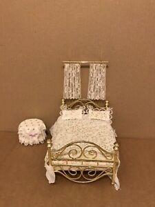 Dolls House Brass Bed and furnishings