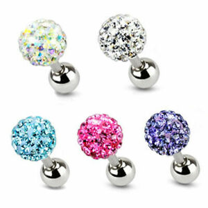 16G Surgical Steel Crystal Ball Barbell Bar Helix Tongue Ear Ring Piercing Pin