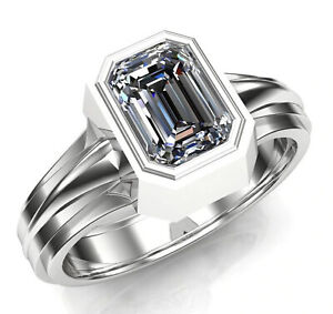 2.00+ Ct Emerald Near White Moissanite Diamond Engagement 925 Silver Men's Ring