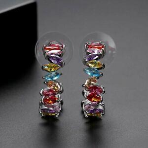 Rhodium Silver Plated Rainbow CZ Zirconia Marquise Half Hoop Stud Earrings