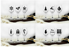 12 CHRISTMAS Vinyl Decal Stickers for Wine Glass, Champagne Party Xmas Santa