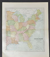 Antique Color map of The Eastern Part of the U.S Circa 1895. Nice detail