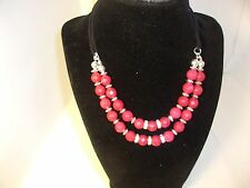 "White House Black Market Signed NECKLACE 14"" long RED beads w/ silver & crystals"
