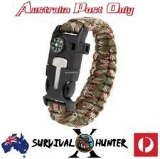 Paracord Survival Bracelet Flint Fire Starter Scraper Whistle,hiking, camping