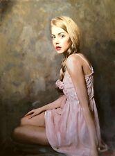 """NUOVO William OXER tela originale """"La Rose"""" INGLESE PRETTY WOMAN GIRL PITTURA"""