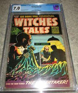 Witches Tales 24 CGC 7.0 CADAVER AWAKENS IN MORGUE! 1954 Harvey Nostrand, Elias