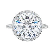 Halo Micro Pave Engagement Wedding Ring 1.35 Ct Moissanite Round Forever One