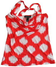 INC International Concepts M Criss-Cross Back Cowl Neck Tank Top Red White Dots