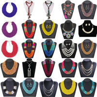 New Fashion Women Bib Resin Beads Pendant Statement Chain Chunky Choker Necklace