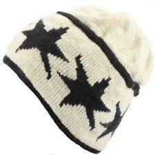 CREAM BEANIE with BLACK STARS NEPAL COTTON KNIT OFF WHITE HIPPIE FESTIVAL HAT