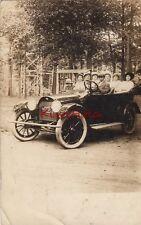 Postcard RPPC Boy Driving Antique Car 1915 License Plate