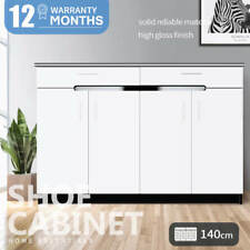 140cm White Black High Gloss Shoe Cabinet Rack Organiser 4 Door 2 drawer