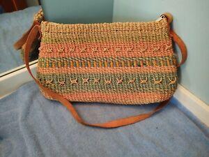 "Woven Boho Hippie Jute Sisal Purse Handbag Market Bag 15"" x 10"" w/ Zipper"