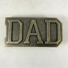 Logo Belt Buckle Vintage Brass Dad Text