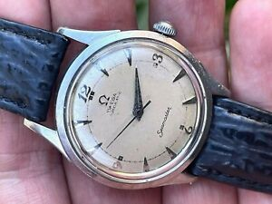 1952 OMEGA AUTOMATIC BUMPER SEAMASTER STAINLESS STEEL ORIGINAL DIAL Cal 354 RUNS