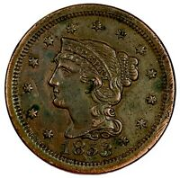 1853 United States Braided Hair Large Cent - XF