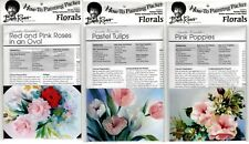 BOB ROSS How-To Painting Packets- Red & Pink Roses, Pastel Tulips & Pink Poppies