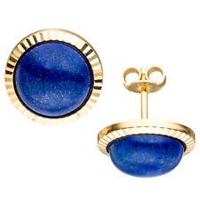Damen Ohrstecker rund 333 Gold Gelbgold 2 Lapislazuli blau Ohrringe Goldohrringe