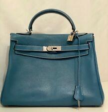 Hermes Bleu Jean Kelly 32cm with Palladium Hardware, Authentic Used Handbag