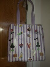 """Lulu Guinness  Lilac & White Vinyl """"accessories"""" Tote bag"""
