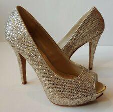 de22bb41dca Aldo Womens Gold Glitter Peep Toe Pumps Platform 5