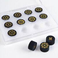 12PCS/lot Billiard Pool Cue Tip Black Buffalo Skin Leather 9 Layers 14mm