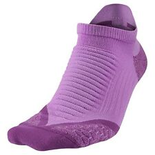 NIKE Elite Dri Fit Cushioned Reflective Purple Running Socks Womens 11.5-13