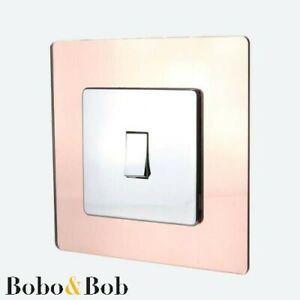 Copper Colour Acrylic Mirror Light Switch / Plug Socket Surround - Rose Gold