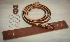 44in Hand made universal leather camera strap.Chestnut with brass Chicago screws