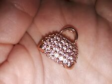 14K Solid Rose Gold & Pink Sapphire Purse Pendant 4.1 grams TW New w/o Tags
