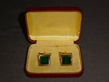 Cased Vintage Pair Of Square Gold Plated Cufflinks